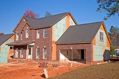 New brick front home. New home construction with brick front Stock Photo