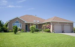 New Brick Home. A new brick home in a subdivision Royalty Free Stock Photo