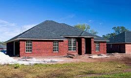 New brick  home 4. New red brick home under construction Royalty Free Stock Photography