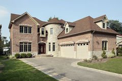 New brick home with turret Royalty Free Stock Images