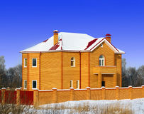 The new brick house with the red roof Royalty Free Stock Images