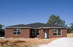 New Brick House and Sand Royalty Free Stock Images