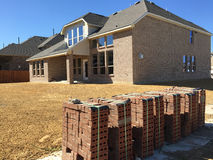 A new brick house under construction royalty free stock photography