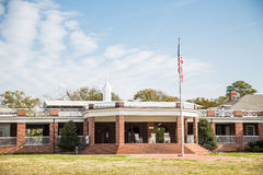 New Brick Pavilion Under American Flag Stock Images