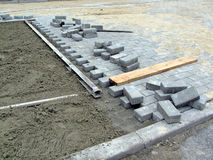 New brick road construction, industry details, Royalty Free Stock Photography