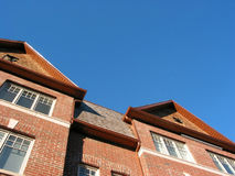 New brick townhomes. On a bright sunny day, space for copy royalty free stock photography