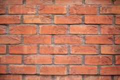 New brick wall. Vintage dilapidated cement brick wall grunge. Red brick wall cement texture background.New red brick wall stock photos