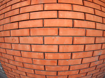 New brick wall with wide angle fisheye view. New red brick wall with wide angle fisheye view stock images
