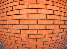 New brick wall with wide angle fisheye view. New red brick wall with wide angle fisheye lens view closeup royalty free stock photos