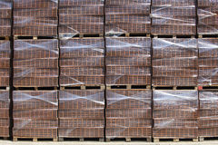 New bricks on stacked pallets Stock Photo