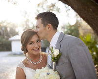 New bride and groom together Stock Photos