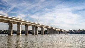 New bridge across Danube river in Belgrade Stock Photography