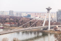 New Bridge in Bratislava. New Futuristic Bridge in Bratislava Stock Photos
