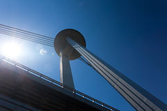 New bridge in Bratislava. With an observation deck and restaurant Stock Images