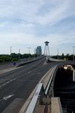 New bridge in Bratislava. New bridge over Danube river in Bratislava -  Slovakia.  black & white Royalty Free Stock Photo