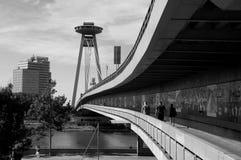 New bridge in Bratislava. New bridge over Danube river in Bratislava -  Slovakia.  black & white Stock Images