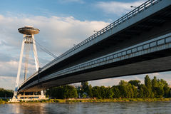 New bridge in Bratislava, Slovakia. New bridge over Danube river in Bratislava at dusk, Slovakia Royalty Free Stock Photography