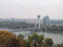The new bridge of Bratislava Stock Photos