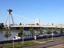 New Bridge in Bratislava, Slovakia. New Bridge over Danube river in Bratislava, the capital of Royalty Free Stock Photos