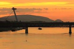 New bridge in Bratislava. New Bridge with the UFO restaurant in Bratislava at sunset, Slovakia Stock Photos