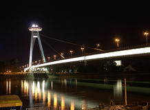 The New Bridge or Bridge of the Slovak National Uprising by night. Great night view on the New Bridge Royalty Free Stock Photo