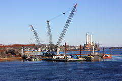 New bridge construction. New bridge construction over the river Stock Images