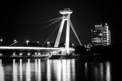 New bridge Most SNP in Bratislava at night. Bridge of the Slovak National Uprising or the UFO Stock Photo