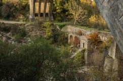 New bridge and old bridge with a small chapel at Karytaina, Pelo Stock Photo