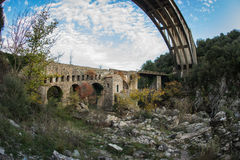 New bridge and old bridge with a small chapel at Karytaina, Pelo Stock Image