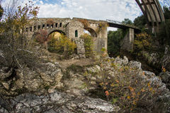 New bridge and old bridge with a small chapel at Karytaina, Pelo. Image of New bridge and old bridge with a small chapel at Karytaina, Peloponnese, Greece Stock Images