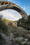 New bridge and old bridge with a small chapel at Karytaina, Pelo Royalty Free Stock Images