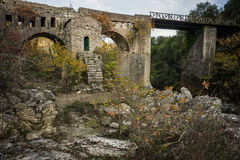 New bridge and old bridge with a small chapel at Karytaina, Pelo Stock Photo