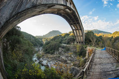 New bridge and old bridge with a small chapel at Karytaina, Pelo Stock Photos