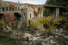 New bridge and old bridge with a small chapel at Karytaina, Pelo Royalty Free Stock Photography