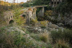 New bridge and old bridge with a small chapel at Karytaina, Pelo Royalty Free Stock Photo