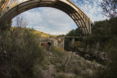New bridge and old bridge with a small chapel at Karytaina, Pelo Stock Images