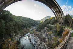 New bridge and old bridge with a small chapel at Karytaina, Pelo Royalty Free Stock Photos