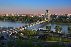 New bridge over Danube river in Bratislava,Slovakia at sunset Royalty Free Stock Photography