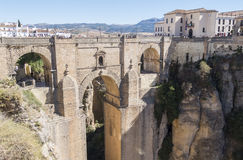 New Bridge over Guadalevin River in Ronda, Malaga, Spain. Popula Stock Photography