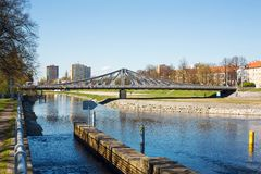 New bridge over Vltava river Stock Photography