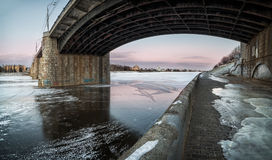 The new bridge over the Volga. New bridge over the frozen Volga in Christmas frost Royalty Free Stock Photography