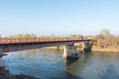 New bridge on the place of old one in Varvarin who was bombed by NATO aviation in the war in 1999. Varvarin village, Serbia. March - 23. 2019. New bridge on the royalty free stock image