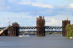 New bridge and pleasure boat. In Kiev, Ukraine Royalty Free Stock Photography