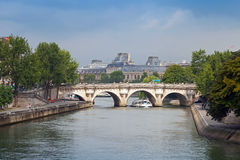 New Bridge, Pont Neuf. Oldest bridge across the Seine Stock Photos