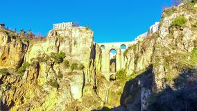 The New Bridge Puente Nuevo in Ronda city, Andalusia, Spain. Panoramic view of The New Bridge Puente Nuevo, famous bridge over the canyon of Guadalevin river in stock video footage