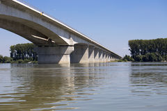 New bridge on river Danube in Zemun,Serbia Royalty Free Stock Photo
