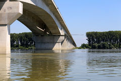 New bridge on river Danube in Zemun,Serbia Royalty Free Stock Photos