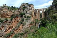 New Bridge, Ronda, Andalusia, Spain. New bridge (Puente Nuevo) seen from within the gorge, Ronda, Malaga Province, Andalusia, Spain, Western Europe Royalty Free Stock Photography
