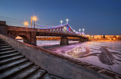 New Bridge Starovolzhsky. New Year Starovolzhsky Bridge in evening illumination Stock Photography