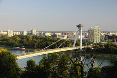New bridge - view from Bratislava Royalty Free Stock Photos